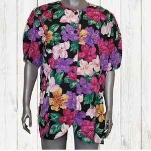 NWT Vtg. Vibrant Floral Button Down